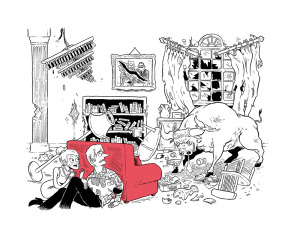 Castleacre Cartoon- bull crashing through the drawing room, designed by Nick Edwards